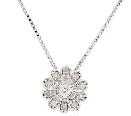 Flower Diamond Slide w/ Chain, Sterling, 1/3 cttw, by Affinity