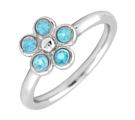 Simply Stacks Sterling & Blue Topaz Sweet Flower Ring