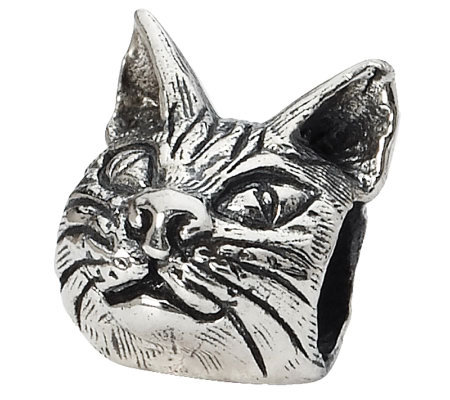 Prerogatives Sterling Maine Coon Cat Head Bead