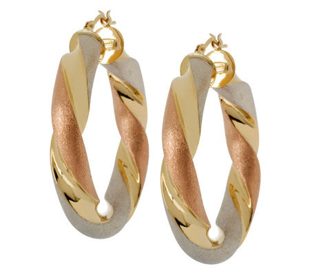 "Arte d'Oro 1-1/2"" Tri-Color Twisted Hoop Earrings"