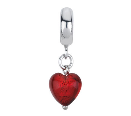 Prerogatives Dark Red Heart Italian Murano Glass Dangle Bead