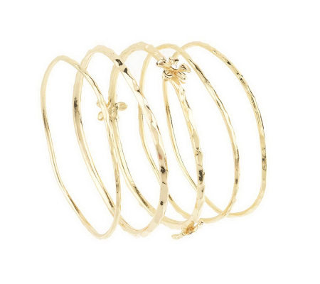 Set of 5 Flower Design Hammered Bangles by Garold Miller