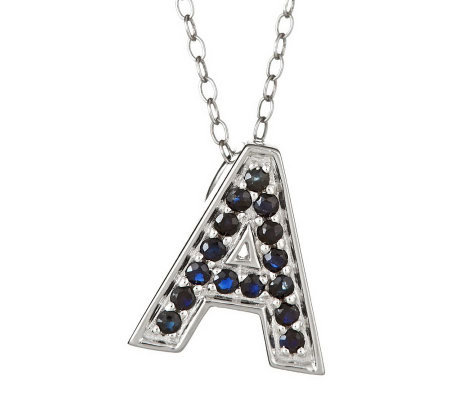 "Sapphire Initial Pendant with 18"" Chain, Sterling"