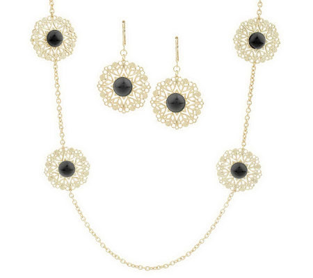Round Filigree Station Necklace & Earring Set by Garold Mille