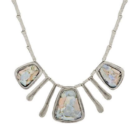 Or Paz Sterling Roman Glass Textured Drop Necklace