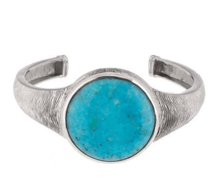 """As Is"" Turquoise Average Textured Sterling Cuff"