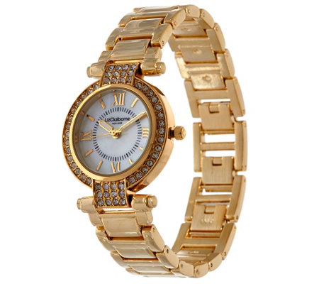 Liz Claiborne New York Mother Of Pearl Watch w/ Crystals
