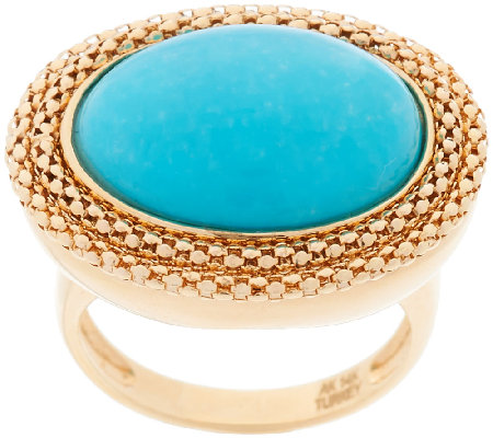 14K Gold Bold Woven Border Sleeping Beauty Turquoise Ring