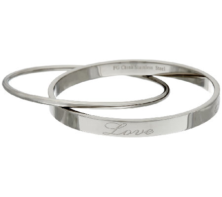 Stainless Steel Inspirational Rolling Bangle
