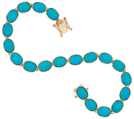"Sleeping Beauty Turquoise 6-3/4"" Tennis Bracelet 14K Gold"