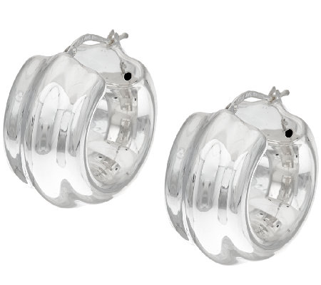 """As Is"" Sterling Silver Bold Ribbed Hoop Earrings by Silver Style"