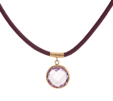 """As Is"" 2.70 ct Gemstone and Leather Drop Necklace 14K"
