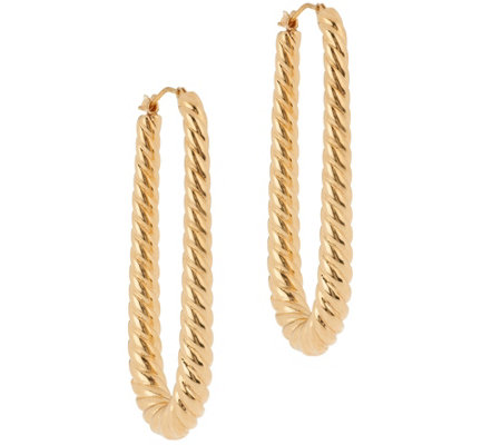 Oro Nuovo Elongated Graduated Ribbed Hoop Earrings 14K