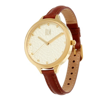RLM Stainless Steel Goldtone Watch with Leather Strap