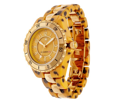 """As Is"" Isaac Mizrahi Live! Ceramic and Stainless Steel Watch"