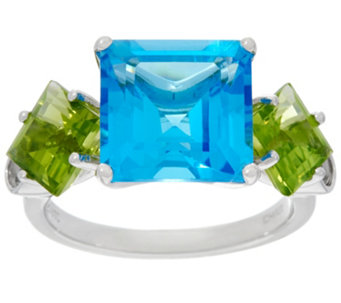 Jane Taylor Swiss Blue Topaz & Peridot Sterling Ring 6.90 cttw - J330951