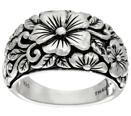 JAI Sterling India Collection Carved Flower Ring