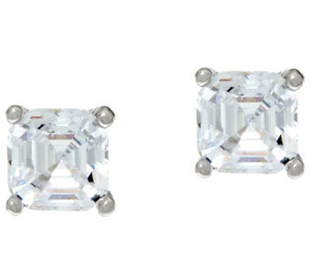 Diamonique 1.00 ct tw Asscher Cut Stud Earrings Platinum Clad - J332751