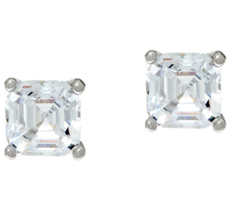 Diamonique 1.00 ct tw Asscher Cut Stud Earrings Platinum Clad