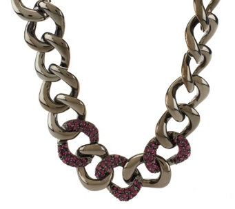 """As Is"" Kenneth Jay Lane's Bold & Pave Oval Crystal Link Necklace - J332951"