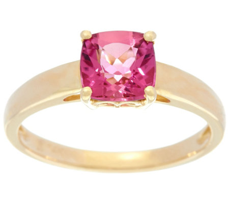 """As Is"" Cushion Cut Pink Tourmaline Ring 14K Gold 1.30 ct"