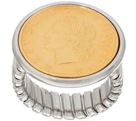 """As Is"" Italian Silver Sterling 200 Lire Coin Tubogas Ring"