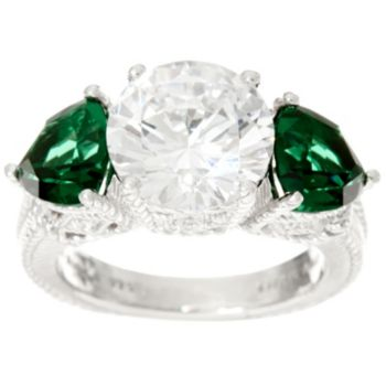 Judith Ripka Sterling Diamonique & Simulated Green Quartz Ring
