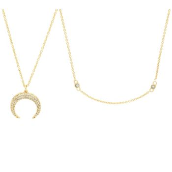 BaubleBar Crystal Double Horn Necklace and Chain Set