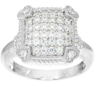 Judith Ripka Sterling or 14K Clad Diamonique Pave Ring
