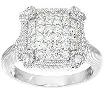 Judith Ripka Sterling or 14K Clad Olivia Diamonique Pave Ring - J335651