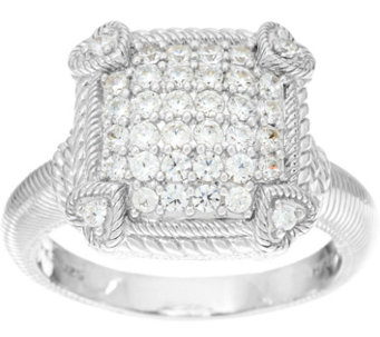 judith ripka sterling or 14k clad olivia diamonique pave ring j335651 - Qvc Wedding Rings