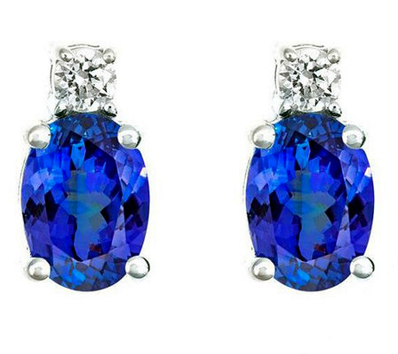 Premier 1.20cttw Tanzanzite & 1/8cttw Diamond Earrings, 14K