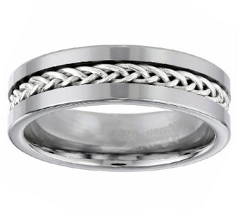 High Polished Tungsten Ring w/ Braided SterlingInlay - J336351