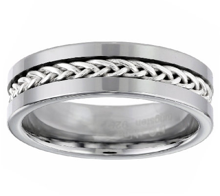 High Polished Men's Tungsten Ring w/ Braided Sterling Inlay