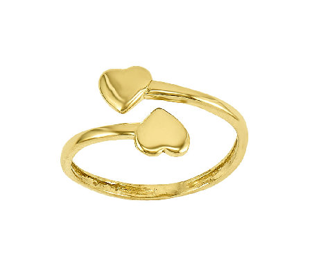 Polished Double-Heart Wrapped Toe Ring, 14K Gold