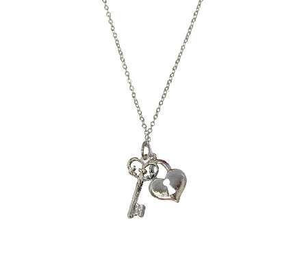 "Catherine Galasso Heart and Key Pendant w/ 18""Chain"