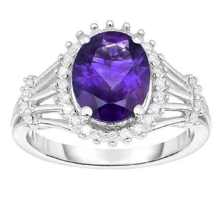 2.00cttw Amethyst & Diamond Halo Ring, Sterling