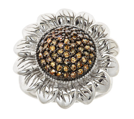 Champagne Diamond Flower Ring, 0.65cttw, Sterling, by Affinit