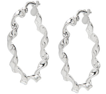 "UltraFine Silver 1"" Round Twisted Hoop Earrings - J339951"