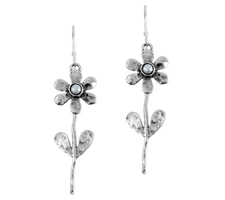Sterling Cultured Pearl Flower Earrings by Or Paz
