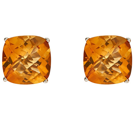 3.00cttw Cushion Gemstone Stud Earrings, Sterling Silver
