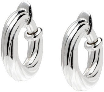 "UltraFine Silver 3/4"" Twisted Clip-On Hoop Earrings - J340951"