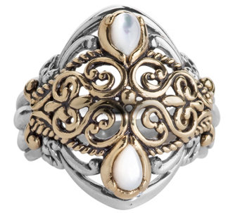 Carolyn Pollack Mixed Metal Mother of PearlScroll Ring - J341851