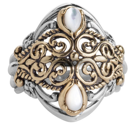 Carolyn Pollack Mixed Metal Mother of Pearl Scroll Ring