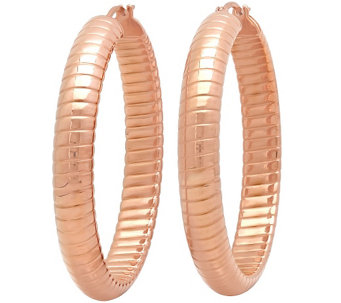 Stainless Steel Ribbed Hoop Earrings - J342151