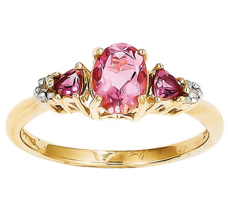 Pink Tourmaline & Diamond Accent Ring, 14K Yell ow Gold