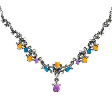 Carolyn Pollack Sterling 7.50ct Gemstone Honeysuckle Necklace