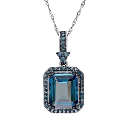 5.20 ct Blue Topaz & 3/10 cttw Diamond Pendantw/Chain, 14K