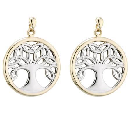Solvar Two-Tone Celtic Family Tree Drop Earrings, 14K