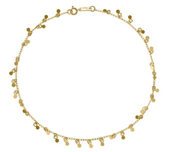 "14K Gold Circles Dangle 10"" Anklet - J343651"